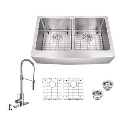 All-in-One Apron Front Stainless Steel 32.875 in. 50/50 Double Bowl Kitchen Sink with Polished Chrome Kitchen Faucet