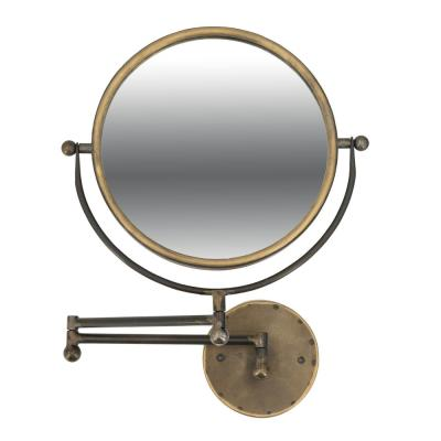 13.8 in. x 22.8 in. Round Antique Gold Vanity Swivel Wall Mirror with Extendable Arm