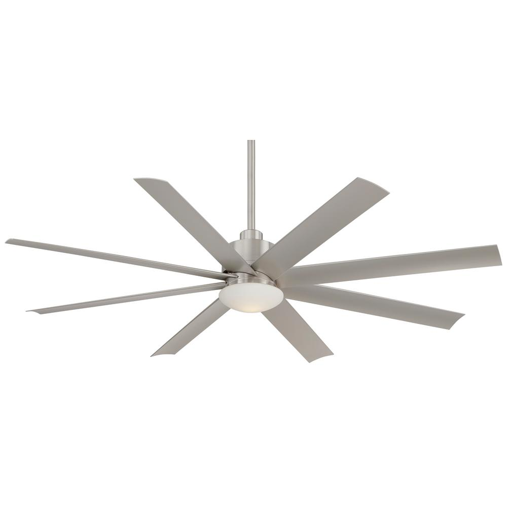 Minka-Aire Slipstream 65 in. Integrated LED Indoor/Outdoor Brushed Nickel Wet Ceiling Fan with Light with Remote Control