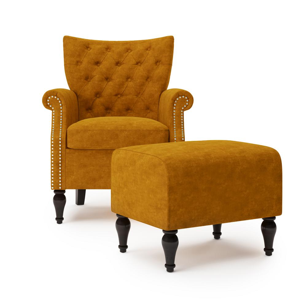 Handy Living Margaux Button In Mustard Gold Velvet Tufted Rolled Arm Chair And Ottoman Set A153102 The Home Depot