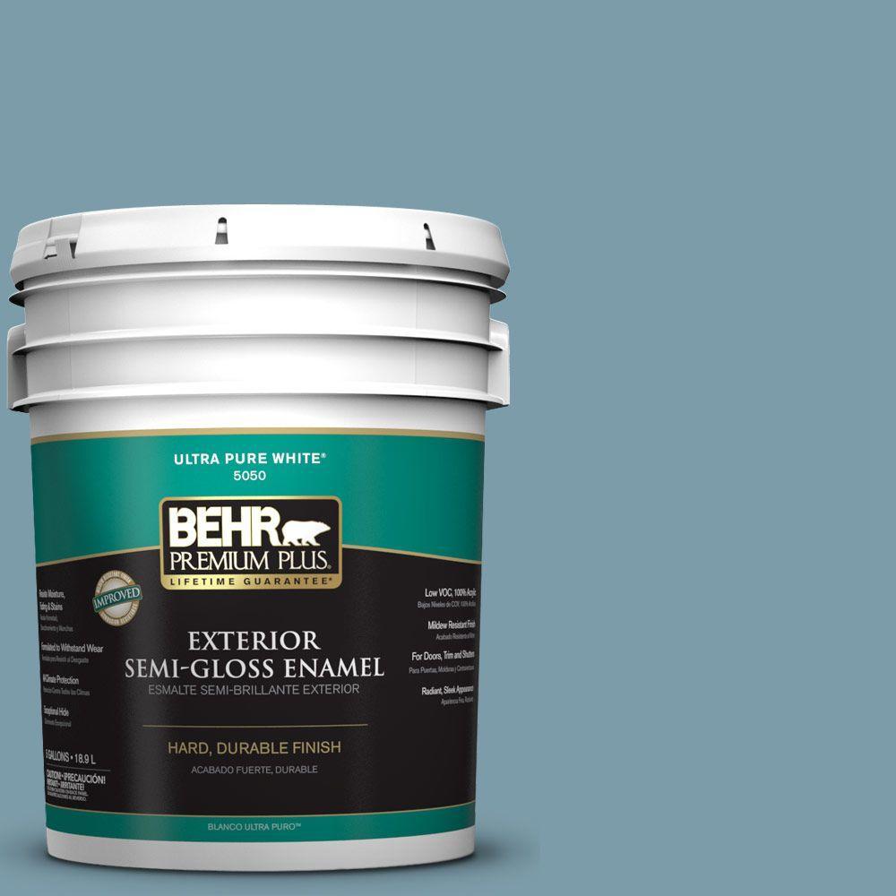 BEHR Premium Plus 5-gal. #S470-4 Dolphin Blue Semi-Gloss Enamel Exterior Paint