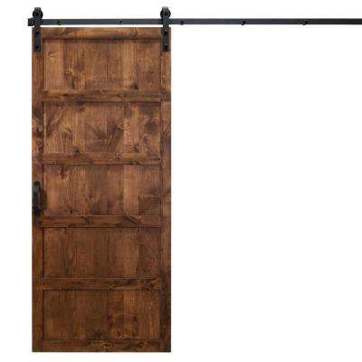 36 in. x 84 in. 5-Panel Walnut Alder Wood Interior Barn Door Slab with Sliding Door Hardware Kit