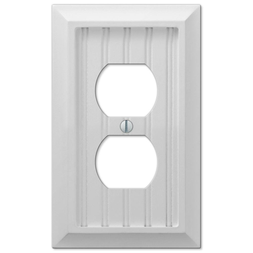 Cottage 1 Duplex Outlet Plate - White Composite Wood