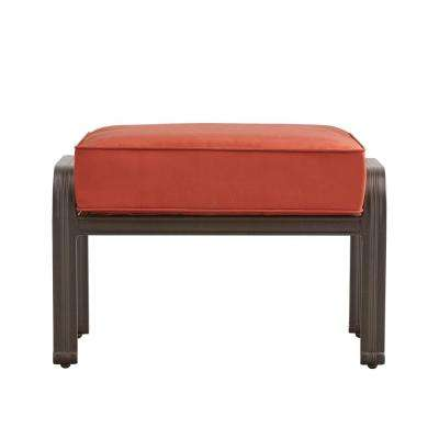 Thoren Aluminum Outdoor Ottoman Chair with Red Cushion