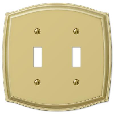 Vineyard 2 Gang Toggle Steel Wall Plate - Polished Brass
