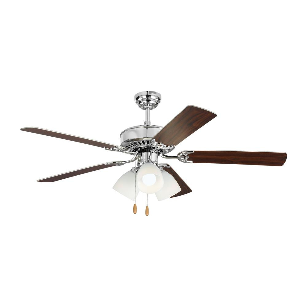 Monte Carlo Haven LED 3 52 in. Indoor Chrome Ceiling Fan with Light Kit