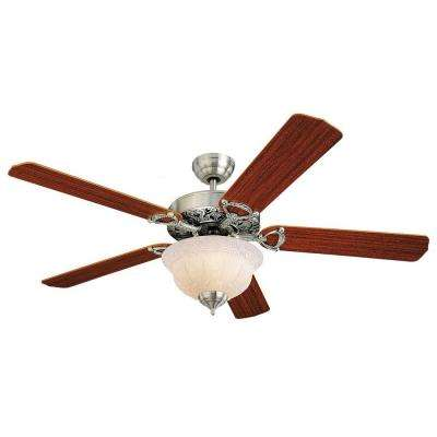 Ornate Elite 52 in. English Pewter Mahogany Ceiling Fan
