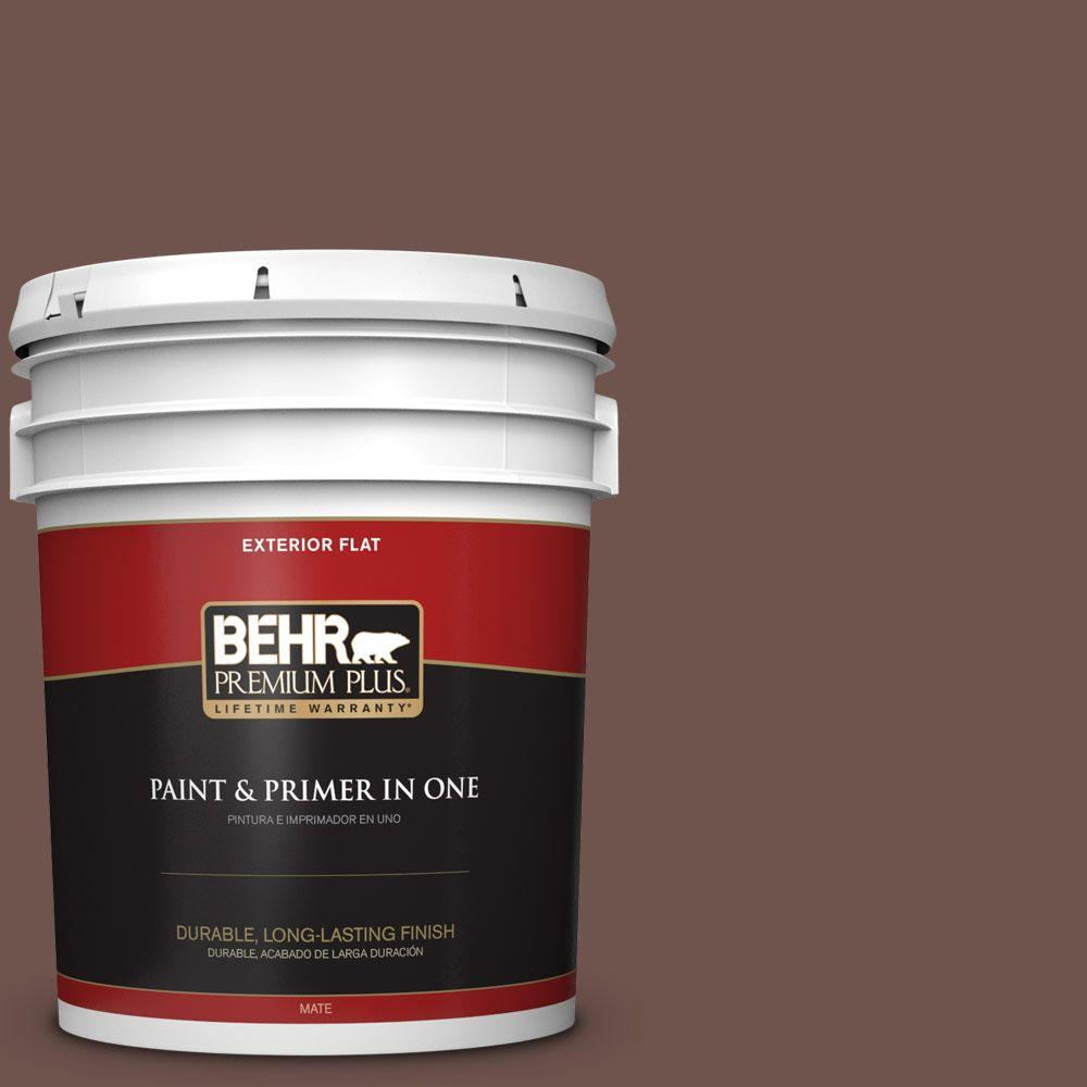 5-gal. #N130-7 Double Fudge Flat Exterior Paint