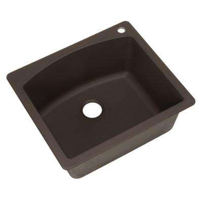 Diamond Dual Mount Granite Composite 25 in. 1-Hole Single Basin Kitchen Sink in Cafe Brown