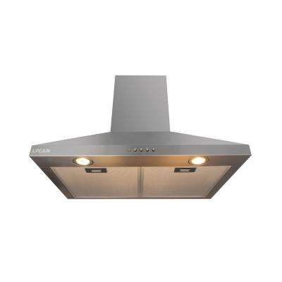 30 in. Wall Mount Chimney Range Hood with Push Button and Light in Stainless Steel