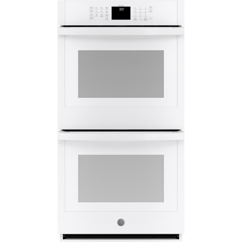 GE 27 in. Smart Double Electric Wall Oven Self-Cleaning with Steam in White