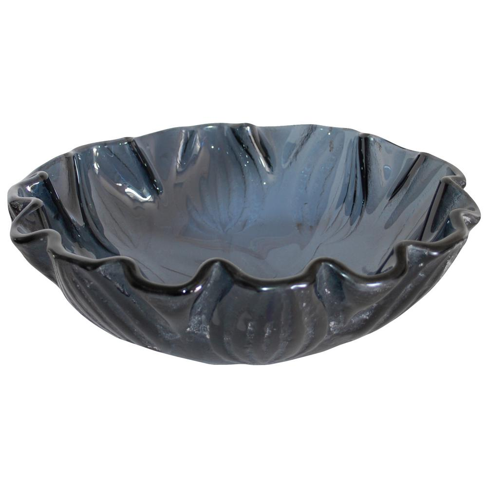 Free-form Wave Glass Vessel Sink in Dark Gray Blue with Pop-Up