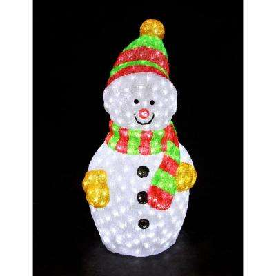 35 in. Decorative Snowman Sculpture LED Light