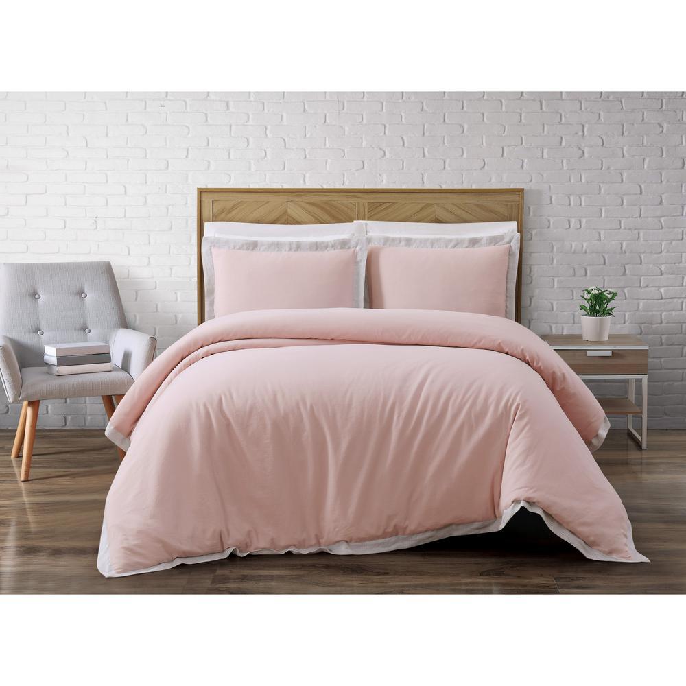 Brooklyn Loom Wilson 3-Piece Pink Full/Queen Duvet Cover Set