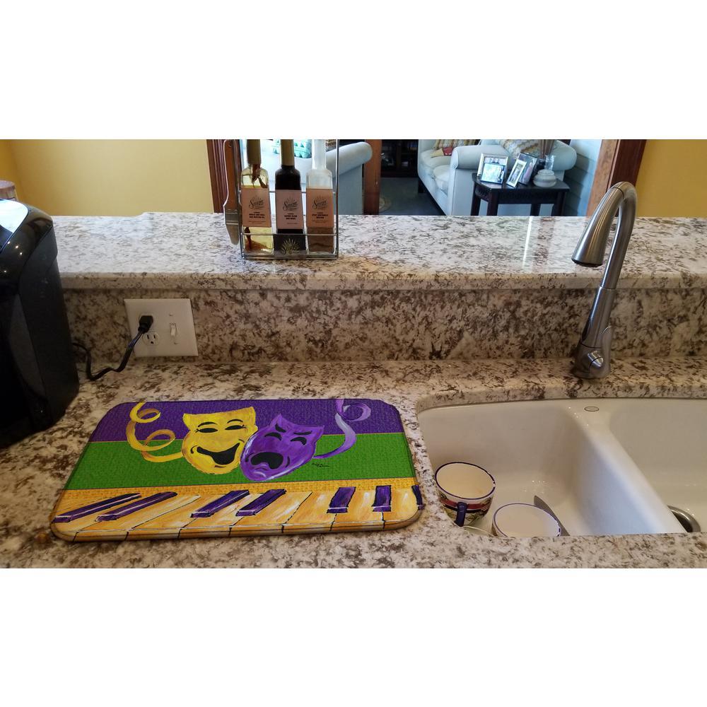 14 in. x 21 in. Multicolor Mardi Gras Dish Drying Mat