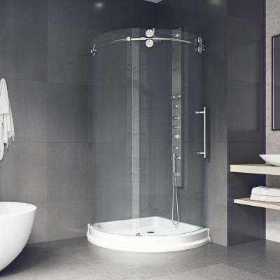 Sanibel 43.625 in. x 79.5 in Frameless Bypass Shower Enclosure in Stainless Steel with Base