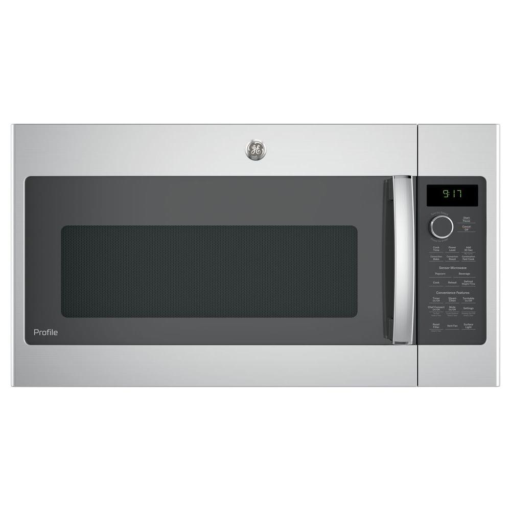 Ge Profile 1 7 Cu Ft Convection Over The Range Microwave In Stainless Steel