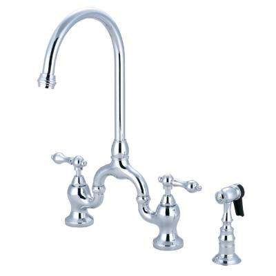 Country 2-Handle Bridge Kitchen Faucet with Side Sprayer in Polished Chrome