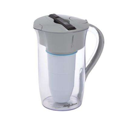 8-Cup Round Water Filter Pitcher in Clear and Grey