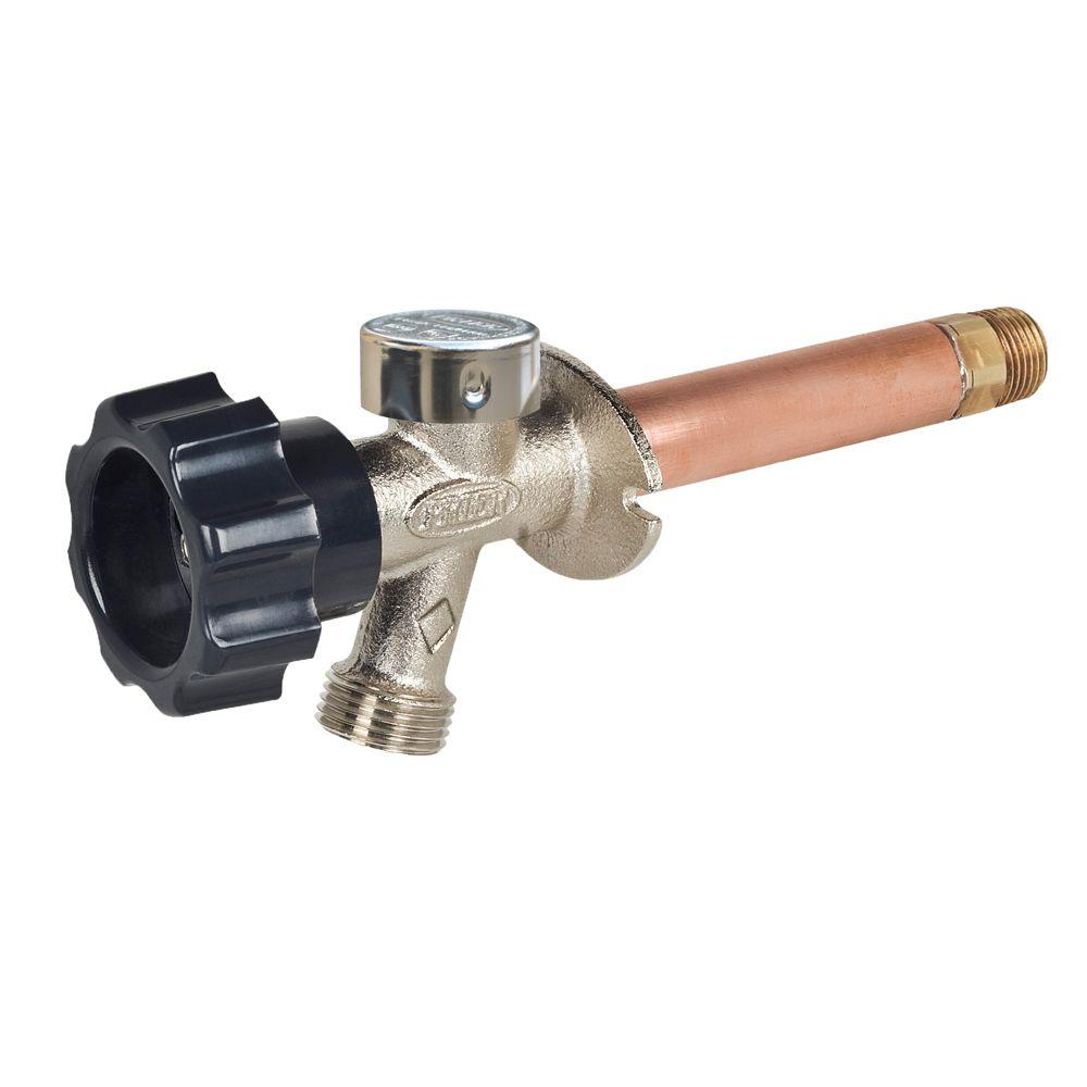 Prier Products 3/4 in. x 4 in. Brass MPT x FIP Half-Turn Frost Free Anti-Siphon Outdoor Faucet Sillcock