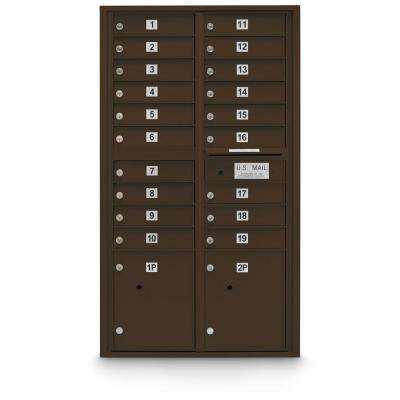 19 Door Standard 4C Mailbox with (2) Parcel Lockers in Bronze