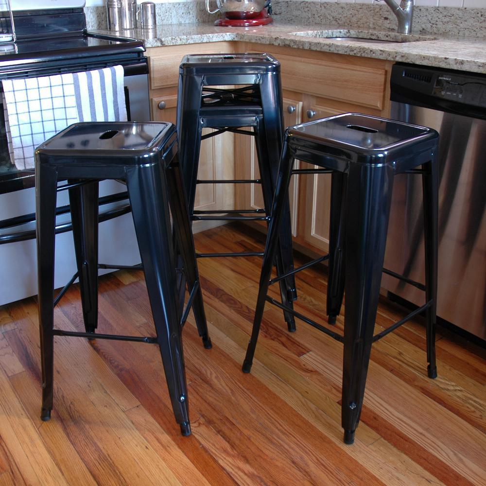 Stackable Metal Bar Stool in Black (Set of 4 & AmeriHome Loft Style 30 in. Stackable Metal Bar Stool in Black ... islam-shia.org