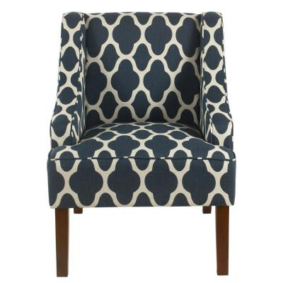 Geometric Navy Classic Swoop Arm Chair