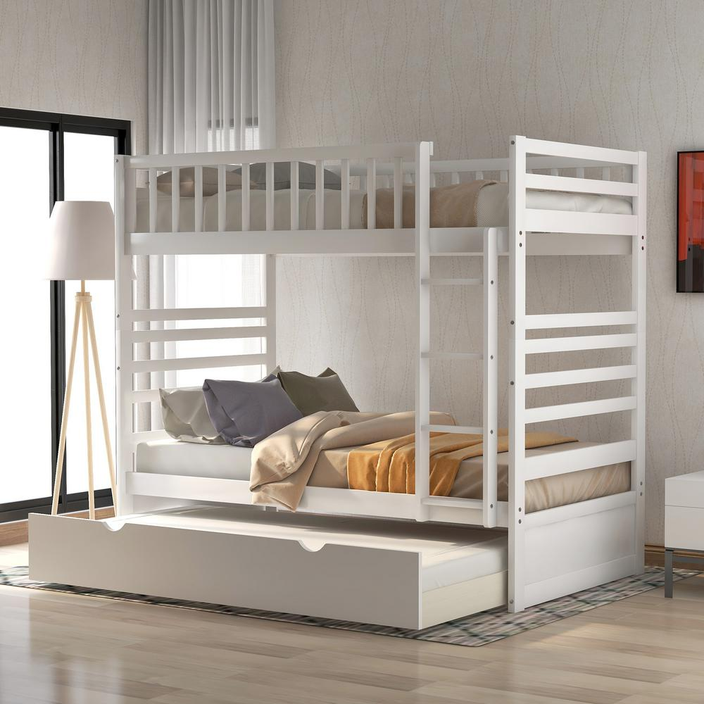 Harper Bright Designs White Twin Bunk Bed With Trundle Bed And End Ladder Sk000067aak The Home Depot