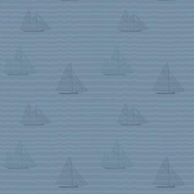 Baby Collection Sailboats in Navy Premium Matte Wallpaper