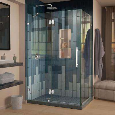 Quatra Lux 34-1/4 in. D x 58-3/8 in. W x 72 in. H Frameless Corner Hinged Shower Enclosure in Chrome