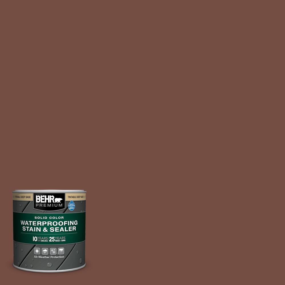 BEHR PREMIUM 8 oz. #SC-129 Chocolate Solid Color Waterproofing Exterior Wood Stain and Sealer Sample