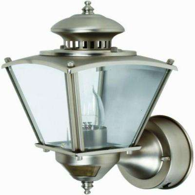 16 in.Beveled Glass Coach 1-Light Pewter Motion Activated Outdoor Dusk to Dawn Wall Mount Lantern