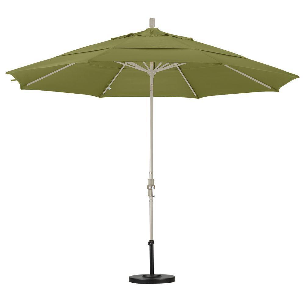 Great 11 Ft. Fiberglass Collar Tilt Double Vented Patio Umbrella In Kiwi Olefin