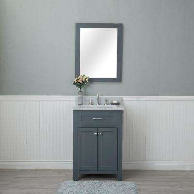 Norwalk 24 in. W x 22 in. D Vanity in Gray with Marble Vanity Top in White with White Basin and Mirror