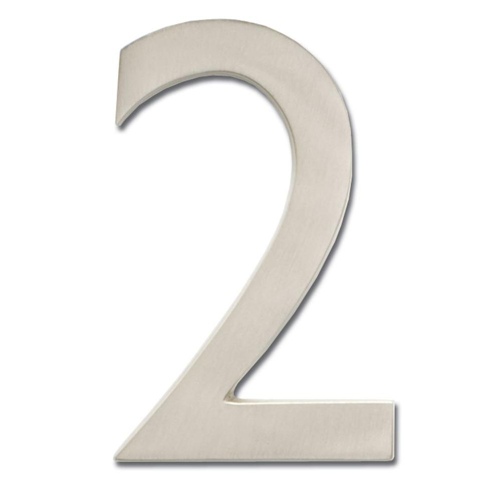 5 in. Satin Nickel Floating House Number 2