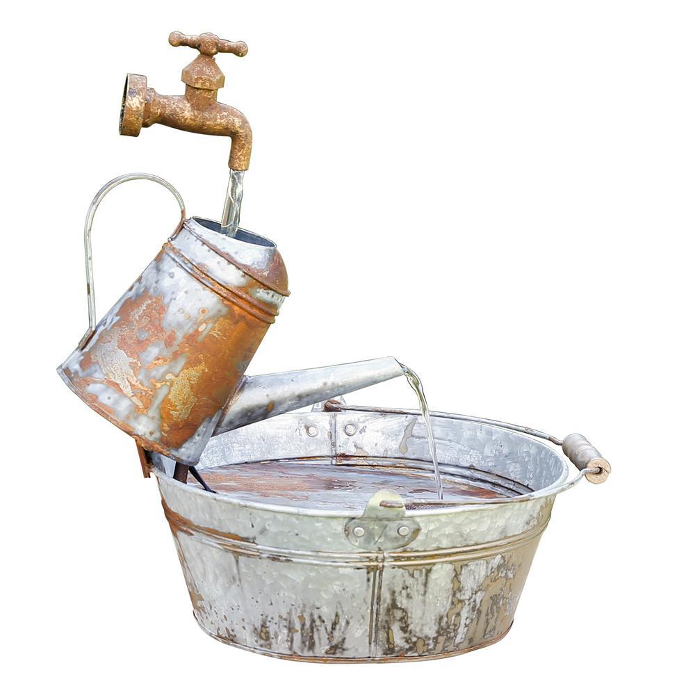18 in. Tall Outdoor Rustic Watering Can Fountain and Birdbath