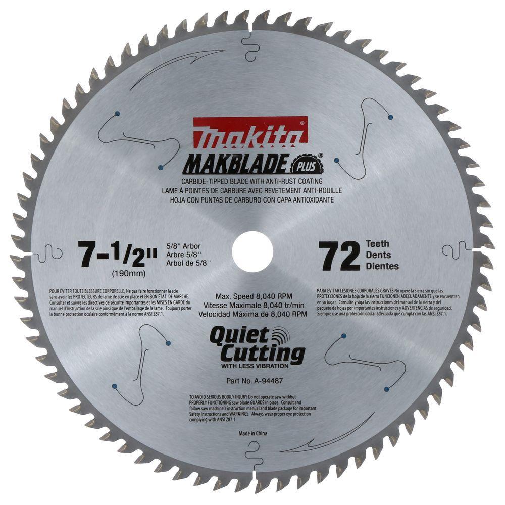Makita 7-1/2 inch x 5/8 inch 72-Teeth Carbide-Tipped Miter Saw Blade by Makita