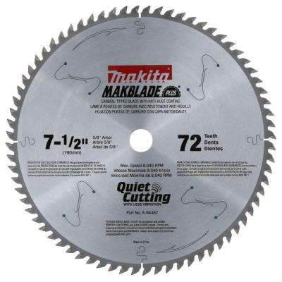 7-1/2 in. x 5/8 in. 72-Teeth Carbide-Tipped Miter Saw Blade