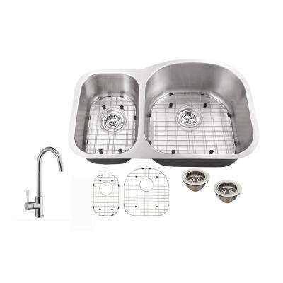 Undermount 32 in. 18 Gauge Stainless Steel Kitchen Sink in Brushed Stainless with Gooseneck Kitchen Faucet