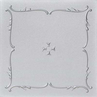 Spring Buds 1.6 ft. x 1.6 ft. Foam Glue-up Ceiling Tile in Silver