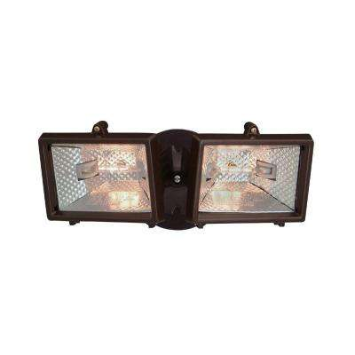Quartz Halogen 2-Light Distressed Bronze Outdoor Halogen Security Light