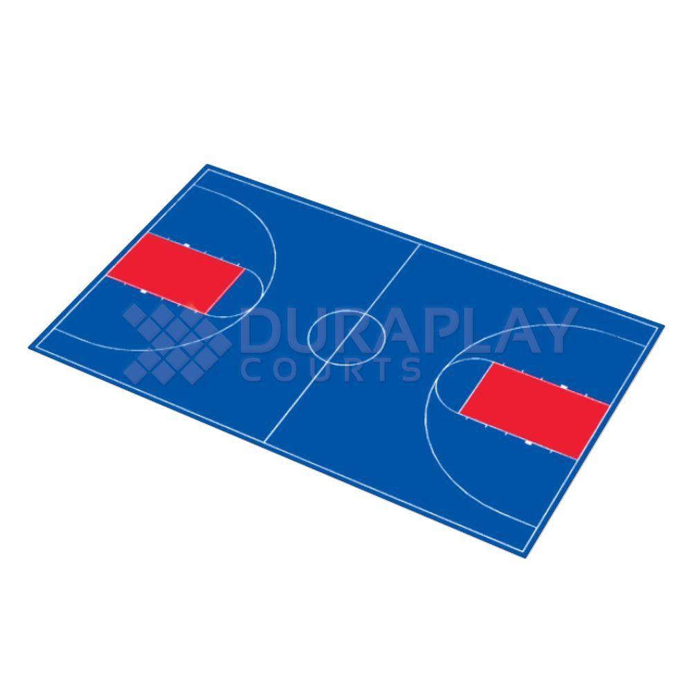 DuraPlay 50 ft. 6 in.  x 83 ft. 11 in. Royal Blue and Red Full Court Basketball Kit