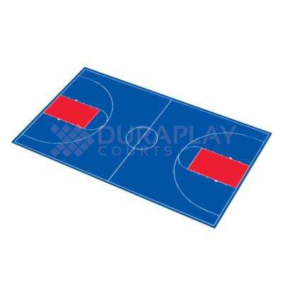50 ft. 6 in.  x 83 ft. 11 in. Royal Blue and Red Full Court Basketball Kit