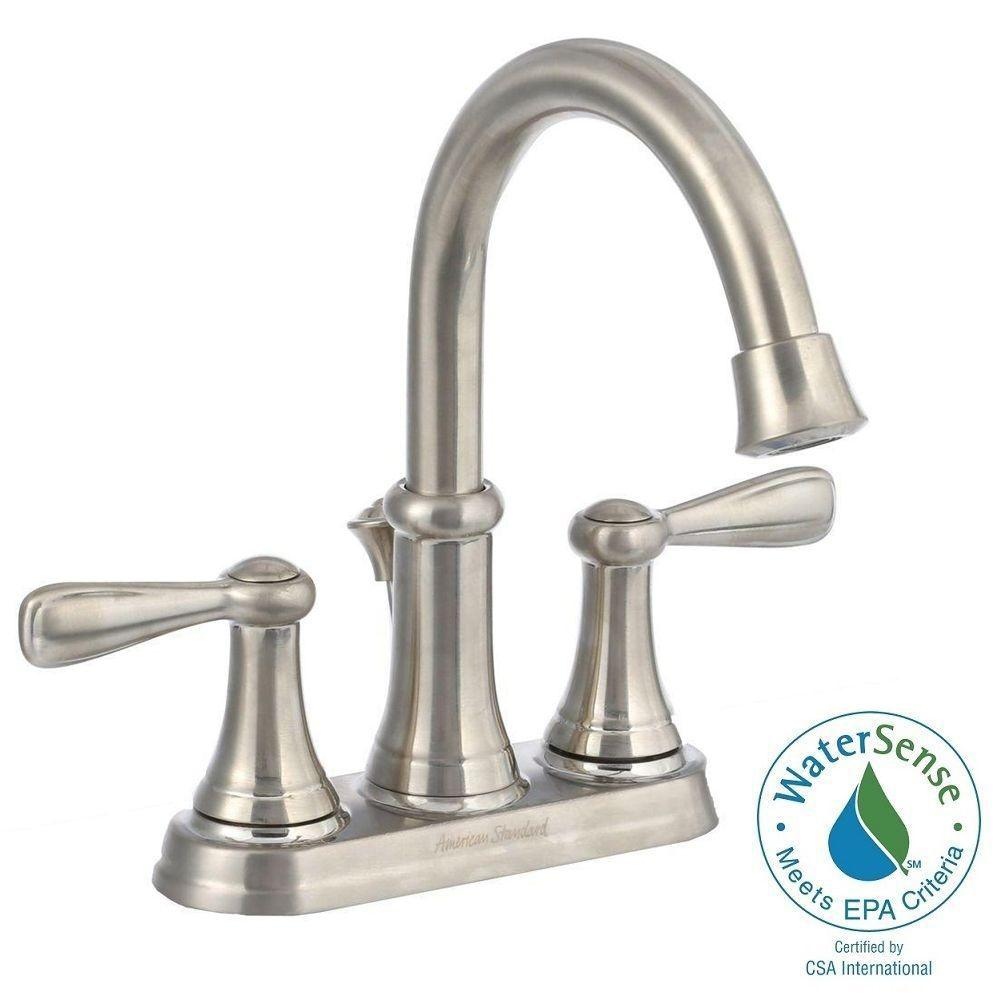 AMERICAN STANDARD Marquette 4 in. Centerset 2-Handle High-Arc Bathroom Faucet in Satin Nickel