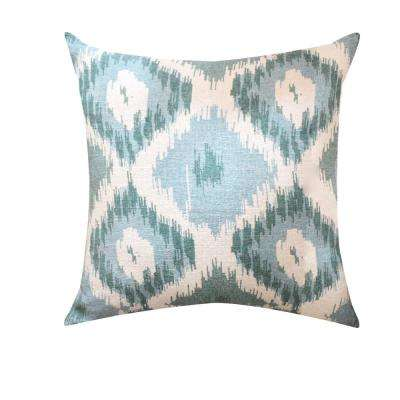 A1HC Hand-Crafted Shaded Ikat Designer Blue 18 in. Throw Pillow