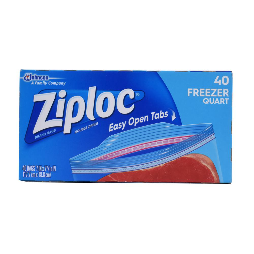 Ziploc 7 in. Quart Plastic Freezer Bag 40-Bag (9-Pack)  sc 1 st  Home Depot & Ziploc 7 in. Quart Plastic Freezer Bag 40-Bag (9-Pack)-00381 - The ...