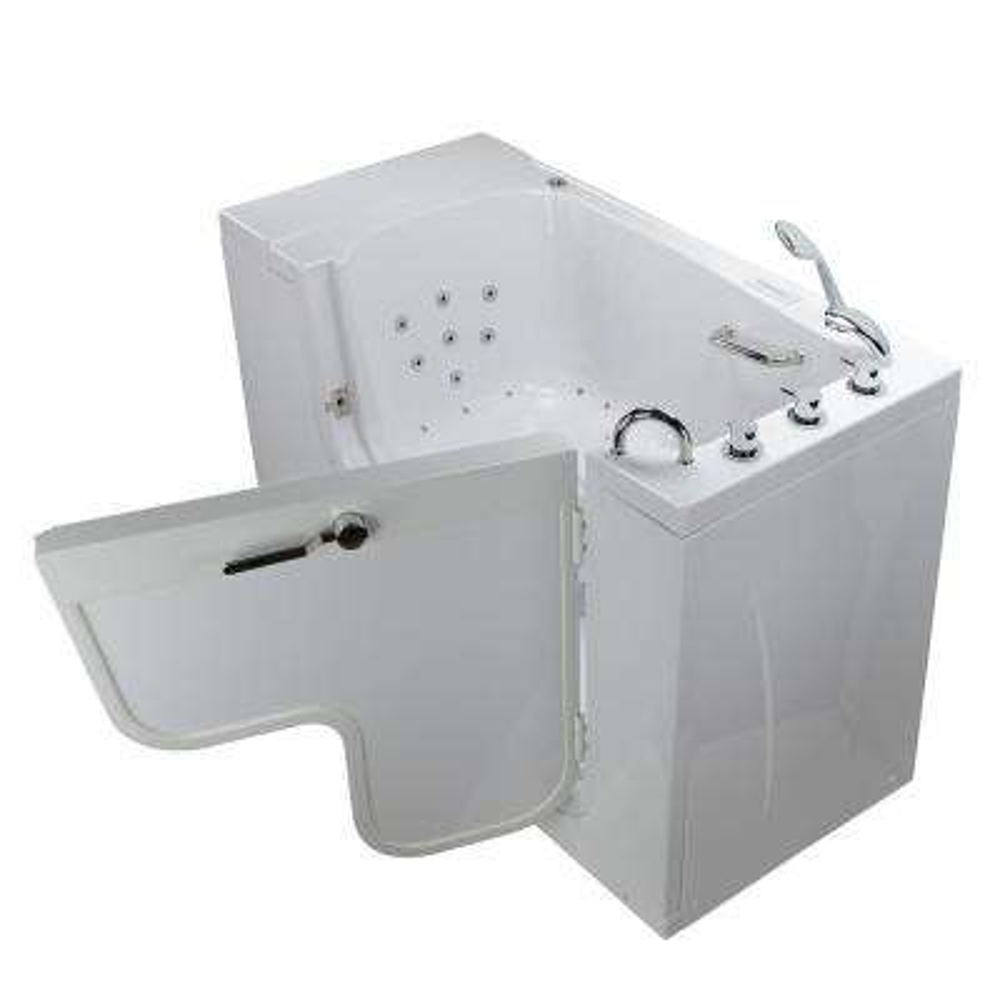Wheelchair Transfer 52 in. Acrylic Walk-In Whirlpool and Air Bath Bathtub in White with Faucet Set, RHS 2 in. Dual Drain