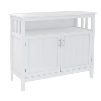 39.96 in.W White Kitchen Storage Sideboard And Buffet Server Cabinet With 2 Shelves and 2 Doors