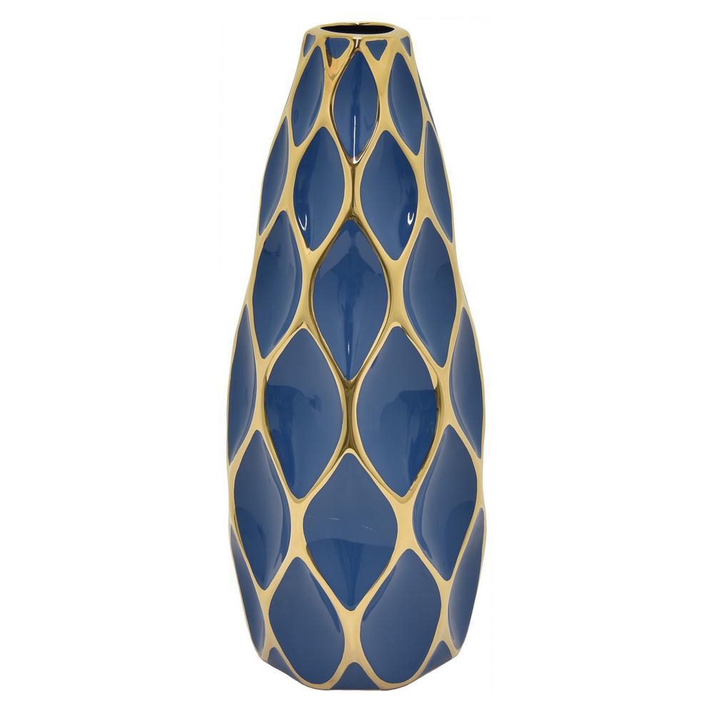 19.5 in. Blue and Gold Porcelain Vase