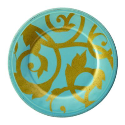 Gold Scroll 8 in. Agave Blue Salad Plate